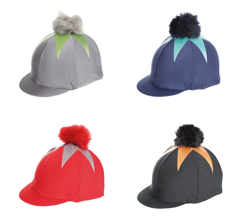 cecc20308 Details about Shires Pom Pom Riding Hat Cover With Big Star