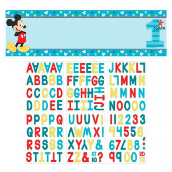 Disney Mickey Mouse Fun to be One 1st Birthday Personalised Giant Banner Kit