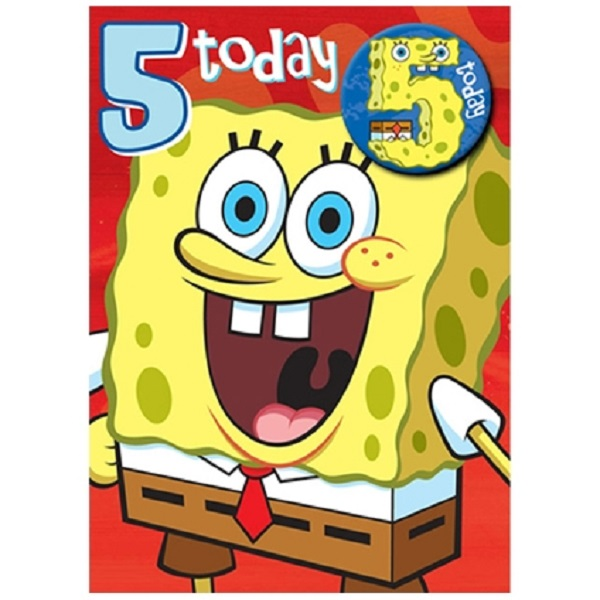 Image Is Loading Spongebob Squarepants Age 5 Birthday Card With Badge
