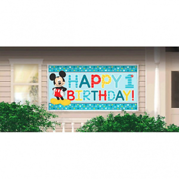 Disney Mickey Mouse Fun to be One 1st Birthday Party Banner -Over 5ft Long