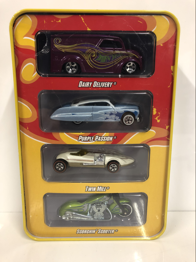 40th-Anniversaire-4-voiture-Tin-Case-Set-Hot-Wheels-L8370